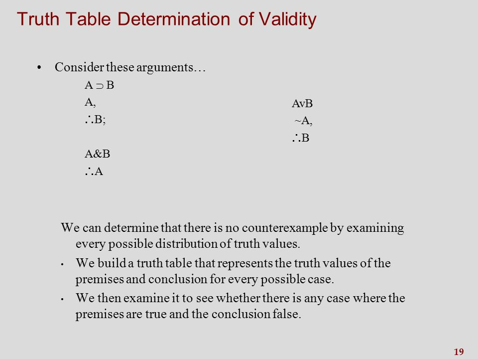 19 Truth Table Determination of Validity Consider these arguments… A  B A,  B; A&B AA We can determine that there is no counterexample by examining every possible distribution of truth values.