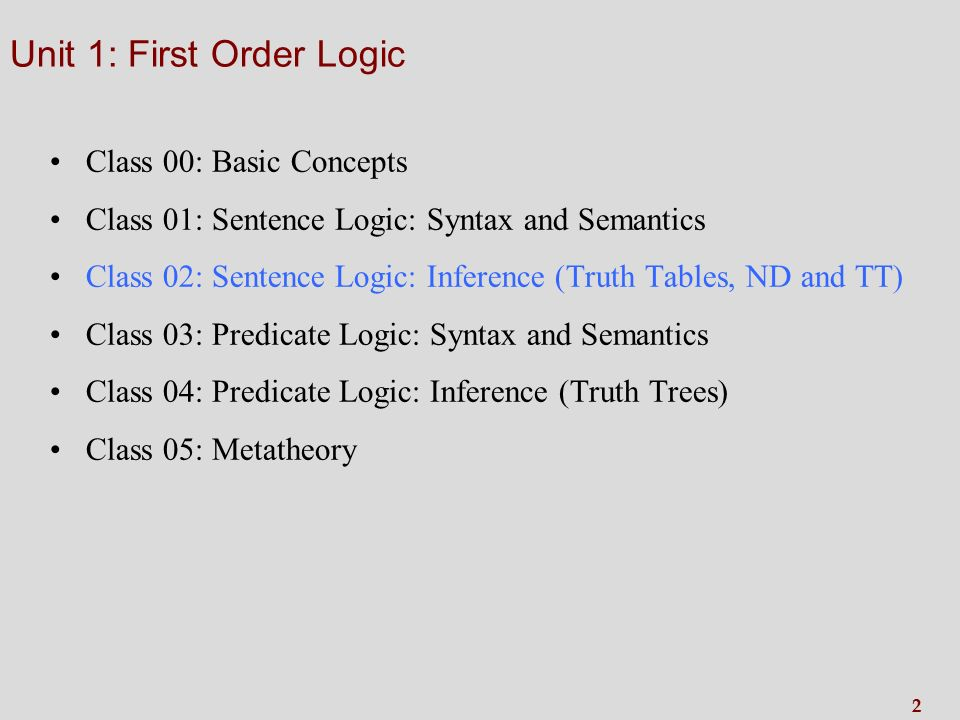 2 Unit 1: First Order Logic Class 00: Basic Concepts Class 01: Sentence Logic: Syntax and Semantics Class 02: Sentence Logic: Inference (Truth Tables, ND and TT) Class 03: Predicate Logic: Syntax and Semantics Class 04: Predicate Logic: Inference (Truth Trees) Class 05: Metatheory