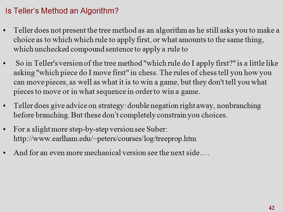 42 Is Teller's Method an Algorithm.