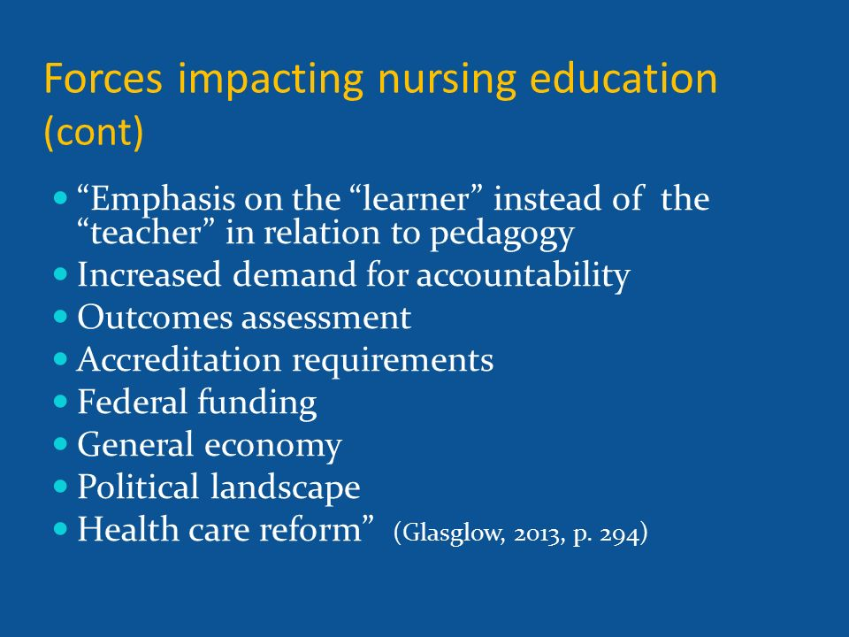 Narrated by mary e partusch phd rn cne competency 8 is listed forces impacting nursing education cont emphasis on the learner instead of the teacher in malvernweather Image collections