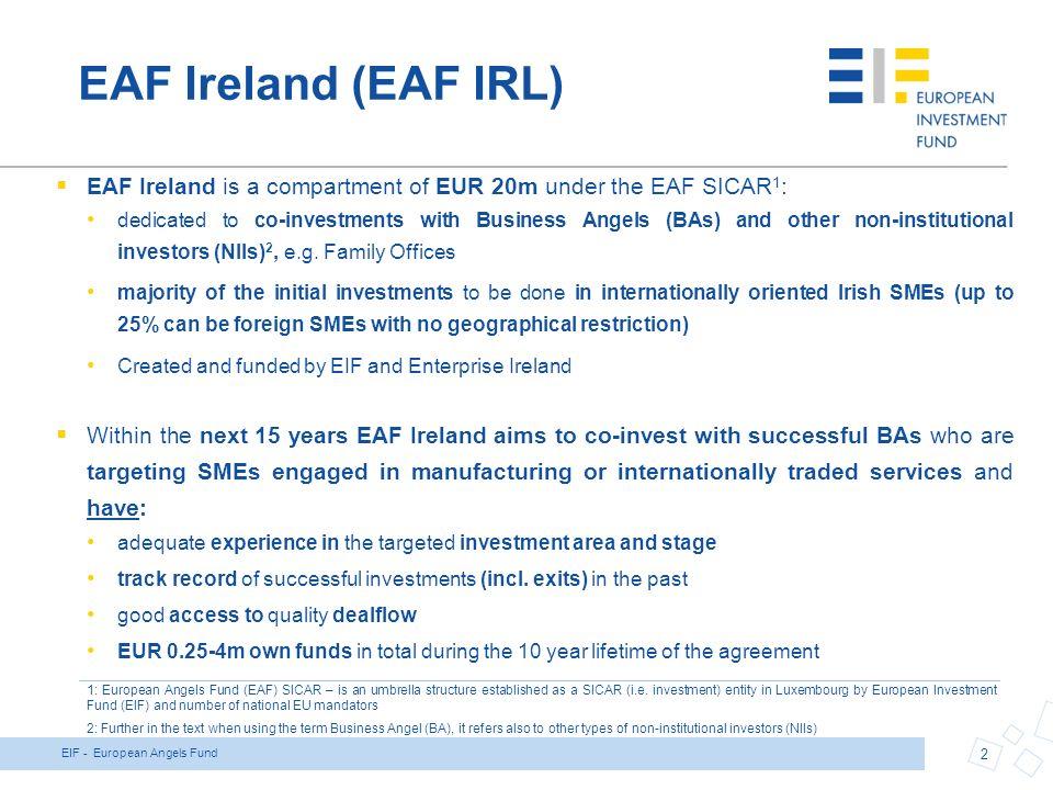 1 european angels fund ireland funded by the european investment 2 2 platinumwayz