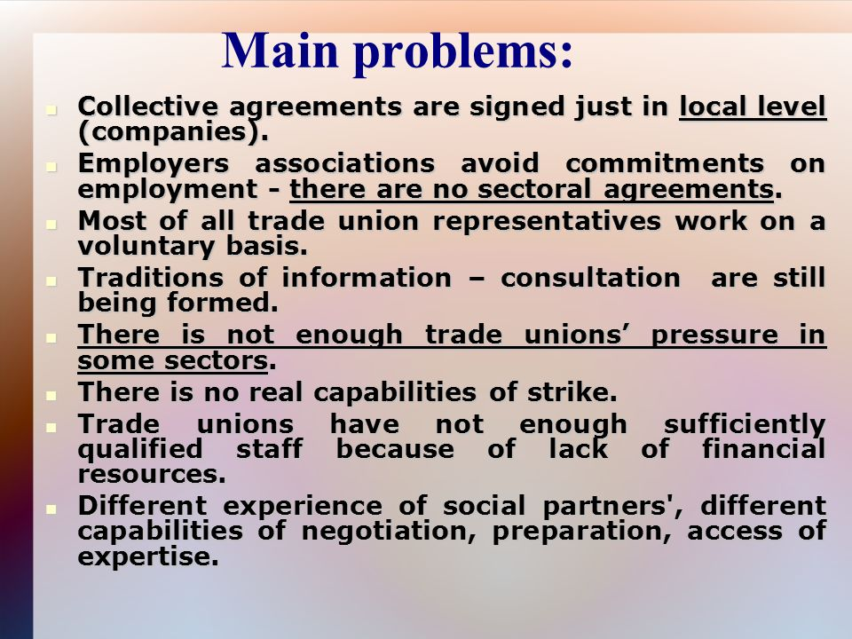 Overview of current social dialogue agenda in lithuania food main problems collective agreements are signed just in local level companies platinumwayz
