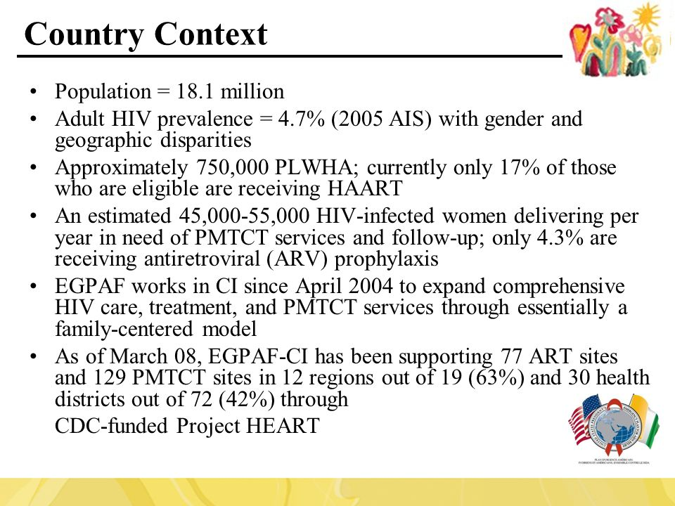 Country Context Population = 18.1 million Adult HIV prevalence = 4.7% (2005 AIS) with gender and geographic disparities Approximately 750,000 PLWHA; currently only 17% of those who are eligible are receiving HAART An estimated 45,000-55,000 HIV-infected women delivering per year in need of PMTCT services and follow-up; only 4.3% are receiving antiretroviral (ARV) prophylaxis EGPAF works in CI since April 2004 to expand comprehensive HIV care, treatment, and PMTCT services through essentially a family-centered model As of March 08, EGPAF-CI has been supporting 77 ART sites and 129 PMTCT sites in 12 regions out of 19 (63%) and 30 health districts out of 72 (42%) through CDC-funded Project HEART