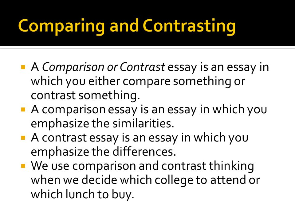 write a compare and contrast essay for college