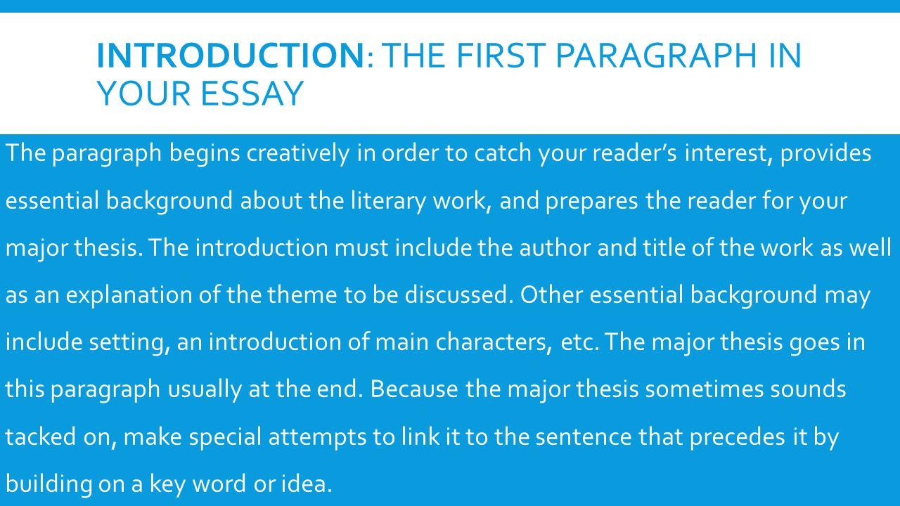 a guide to writing the literary analysis essay introduction the  2 introduction