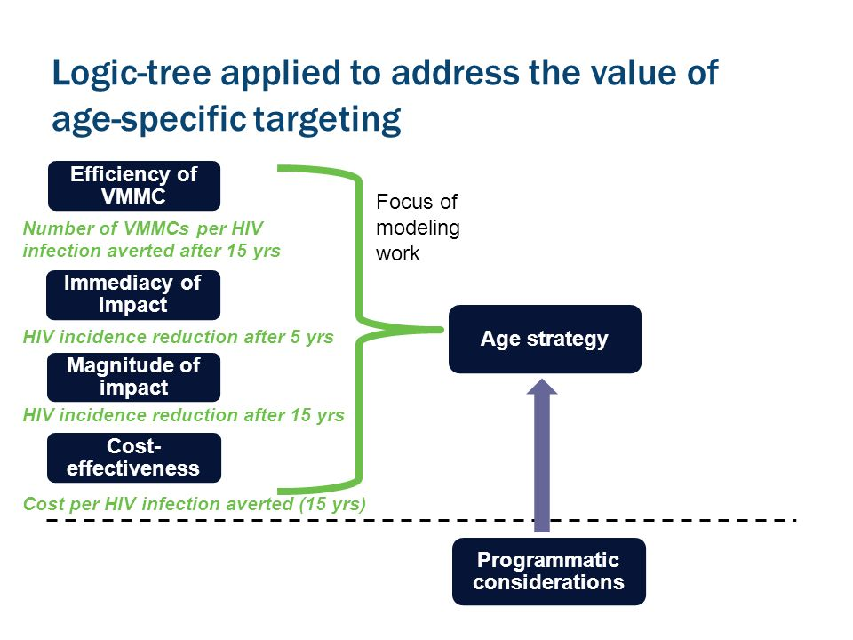Logic-tree applied to address the value of age-specific targeting Efficiency of VMMC Immediacy of impact Magnitude of impact Cost- effectiveness Age strategy Programmatic considerations Number of VMMCs per HIV infection averted after 15 yrs HIV incidence reduction after 5 yrs Cost per HIV infection averted (15 yrs) HIV incidence reduction after 15 yrs Focus of modeling work