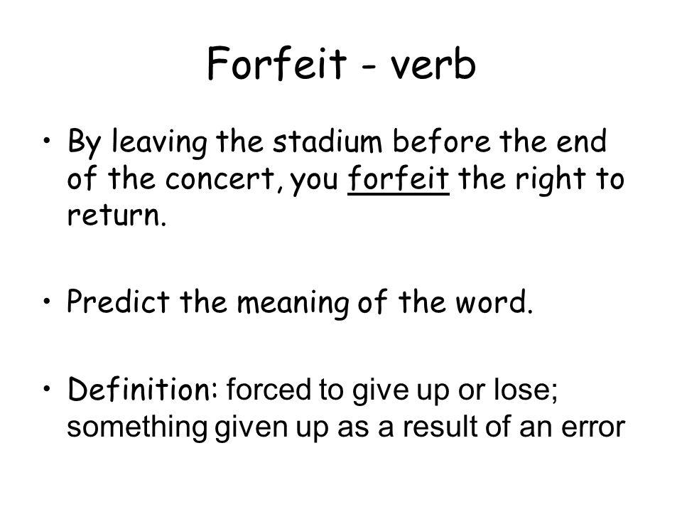 11 Forfeit ...