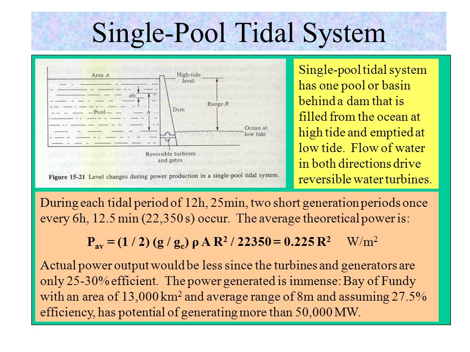 Tidal Energy Resource Tidal schedules vary from day to day because the orbit of the moon does not occur on a regular 24-h schedule; the moon rotates around the earth every 24 h, 50 min.