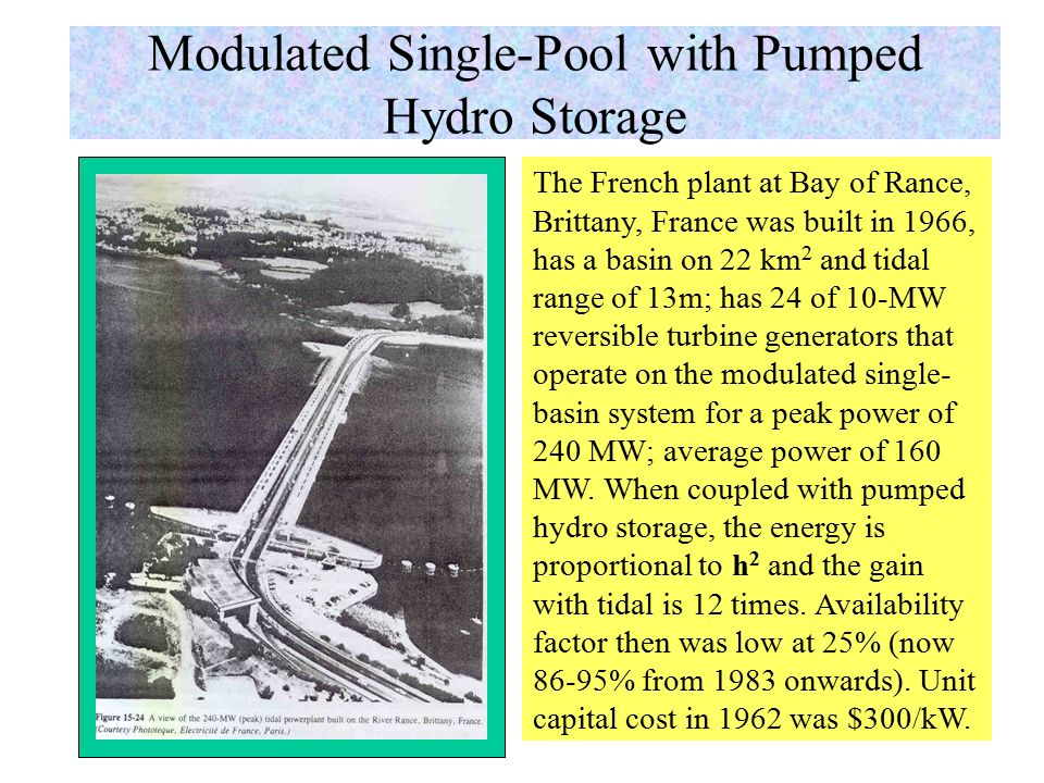 Modulated Single-Pool Tidal System Simple single-pool system has 2- high peak, short-duration power outputs that occur every tidal period – needs large turbine that remain idle most of the time; peaks occur at varying times and will not surely correspond to peak power demand and pose a burden on the power grid.