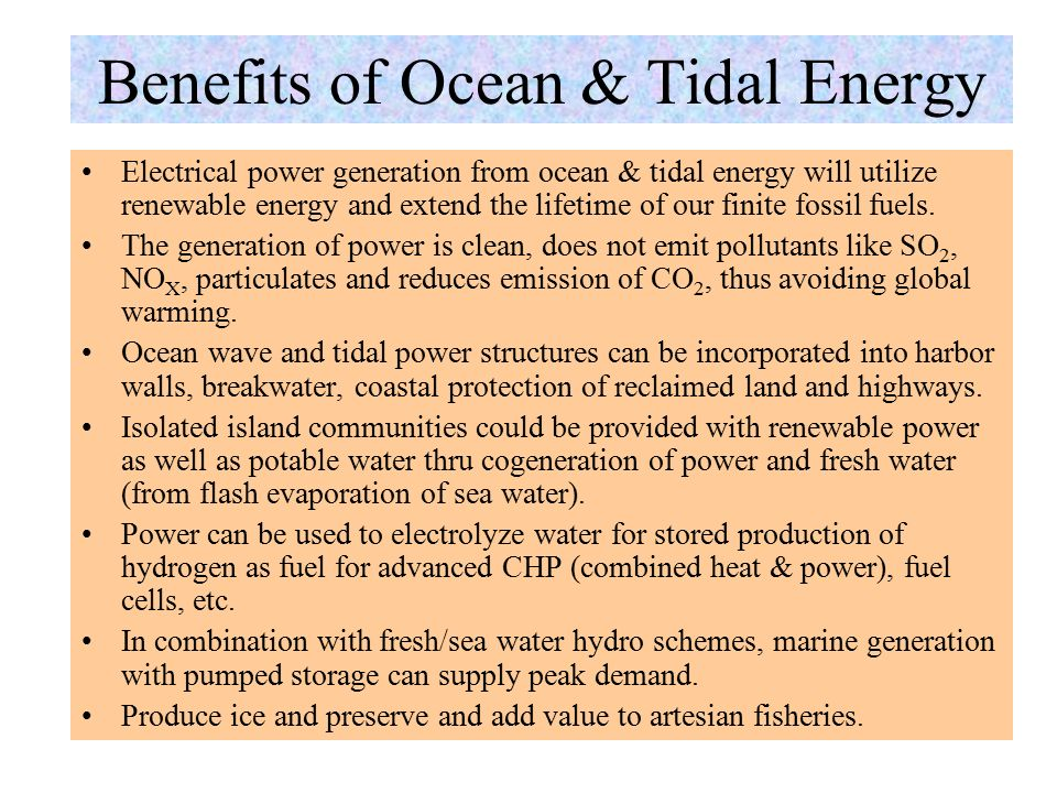 Cost of Ocean & Tidal Energy The 500-kW LIMPET ocean wave OCW is the world's biggest and first commercially viable wave-energy power collector – costs £ 1 million or $1,410/kW (£ 1 = $ 0.7051) Tidal power plant is perhaps the most capital intensive type of power station yet envisaged.