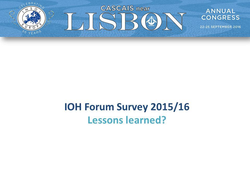 IOH Forum Survey 2015/16 Lessons learned