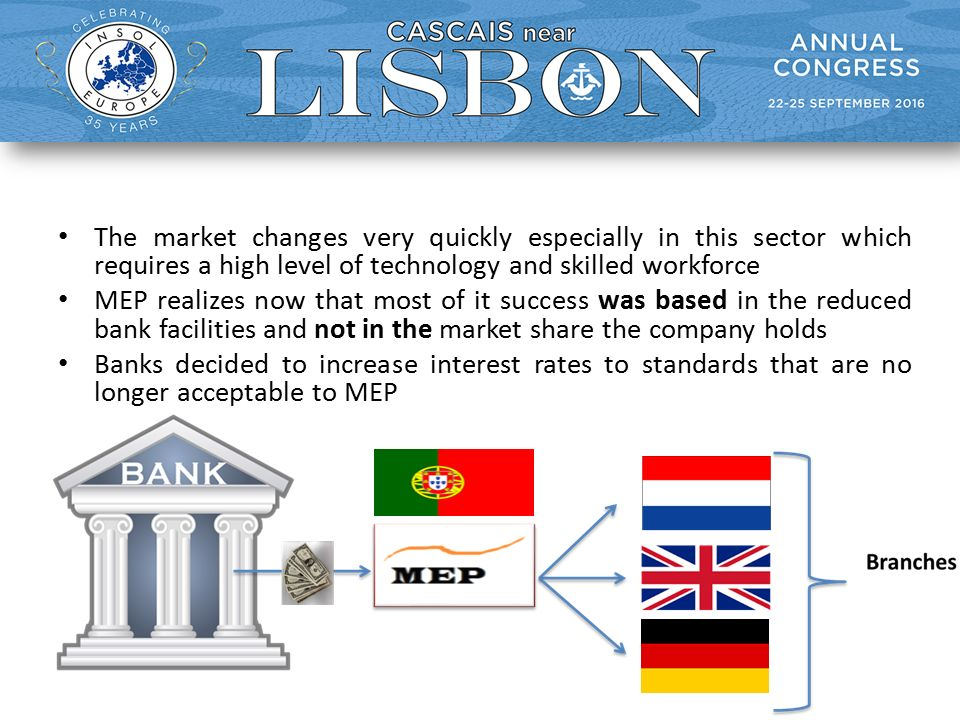 The market changes very quickly especially in this sector which requires a high level of technology and skilled workforce MEP realizes now that most of it success was based in the reduced bank facilities and not in the market share the company holds Banks decided to increase interest rates to standards that are no longer acceptable to MEP