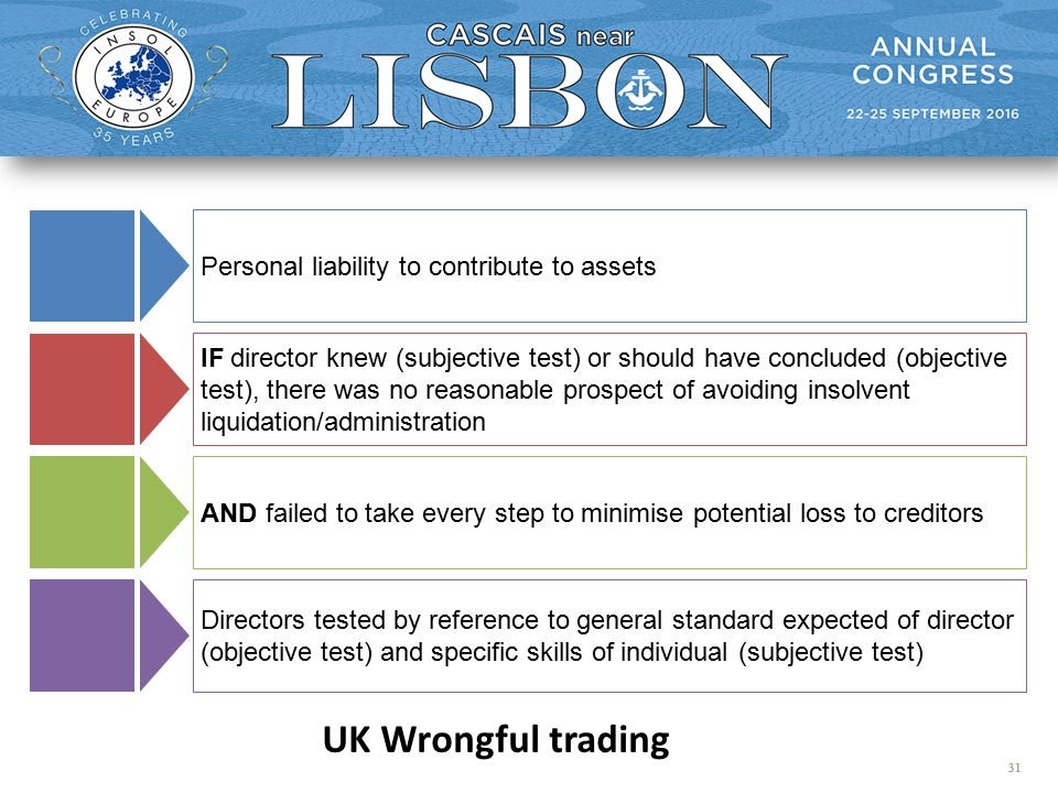 31 UK Wrongful trading IF director knew (subjective test) or should have concluded (objective test), there was no reasonable prospect of avoiding insolvent liquidation/administration Directors tested by reference to general standard expected of director (objective test) and specific skills of individual (subjective test) AND failed to take every step to minimise potential loss to creditors Personal liability to contribute to assets