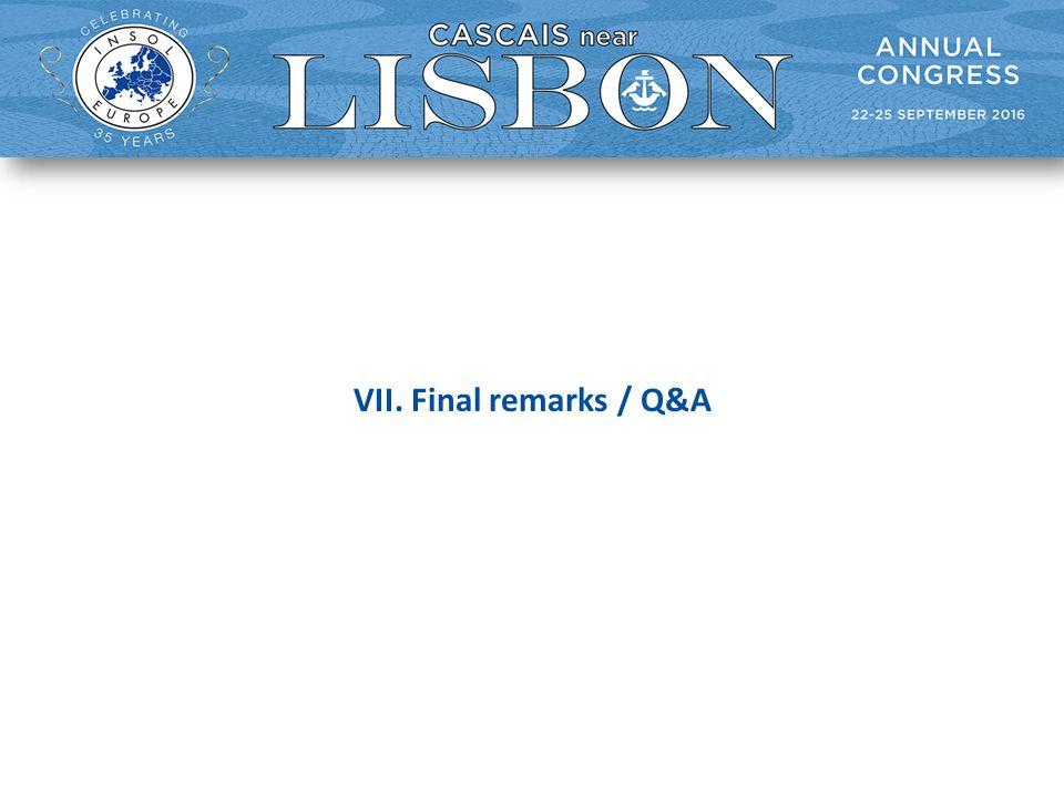 VII. Final remarks / Q&A