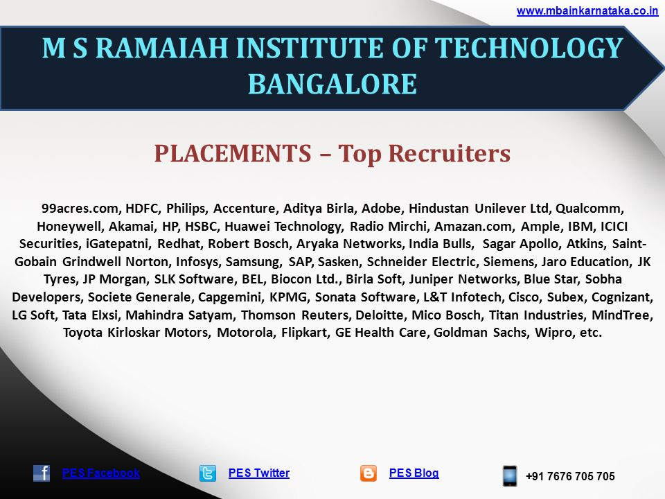 PES TwitterPES Blog +91 7676 705 705 www.mbainkarnataka.co.in PES Facebook M S RAMAIAH INSTITUTE OF TECHNOLOGY BANGALORE PLACEMENTS – Top Recruiters 99acres.com, HDFC, Philips, Accenture, Aditya Birla, Adobe, Hindustan Unilever Ltd, Qualcomm, Honeywell, Akamai, HP, HSBC, Huawei Technology, Radio Mirchi, Amazan.com, Ample, IBM, ICICI Securities, iGatepatni, Redhat, Robert Bosch, Aryaka Networks, India Bulls, Sagar Apollo, Atkins, Saint- Gobain Grindwell Norton, Infosys, Samsung, SAP, Sasken, Schneider Electric, Siemens, Jaro Education, JK Tyres, JP Morgan, SLK Software, BEL, Biocon Ltd., Birla Soft, Juniper Networks, Blue Star, Sobha Developers, Societe Generale, Capgemini, KPMG, Sonata Software, L&T Infotech, Cisco, Subex, Cognizant, LG Soft, Tata Elxsi, Mahindra Satyam, Thomson Reuters, Deloitte, Mico Bosch, Titan Industries, MindTree, Toyota Kirloskar Motors, Motorola, Flipkart, GE Health Care, Goldman Sachs, Wipro, etc.