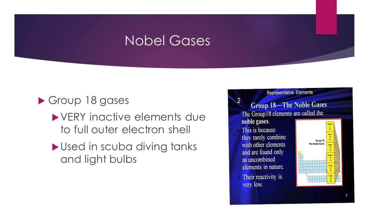 Periodic table and electrons 50 common elements you need to 8 nobel gases group 18 gases very inactive elements due to full outer electron shell used in scuba diving tanks and light bulbs urtaz Gallery