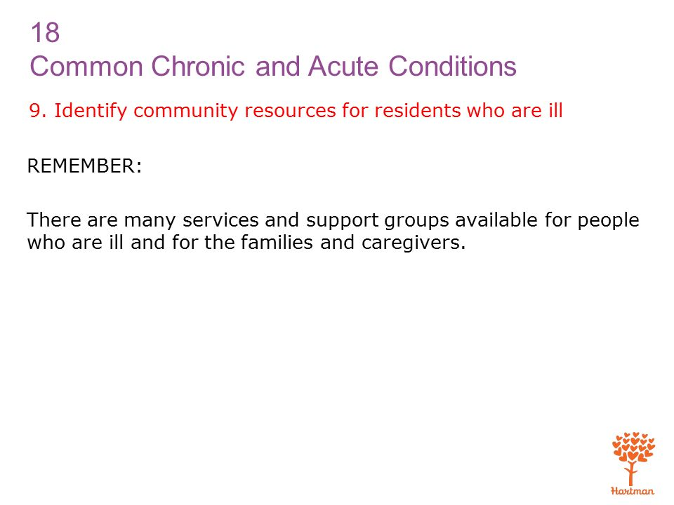 18 Common Chronic and Acute Conditions 9.
