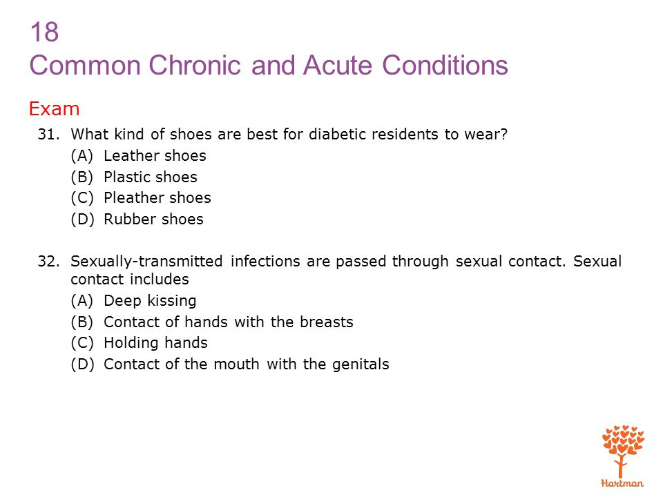 18 Common Chronic and Acute Conditions Exam 31.What kind of shoes are best for diabetic residents to wear.
