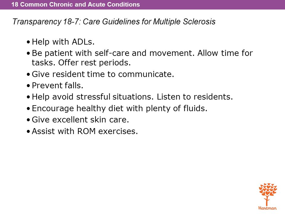18 Common Chronic and Acute Conditions Transparency 18-7: Care Guidelines for Multiple Sclerosis Help with ADLs.