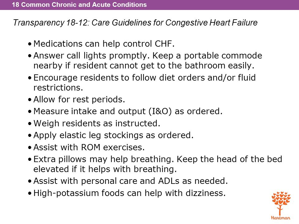 18 Common Chronic and Acute Conditions Transparency 18-12: Care Guidelines for Congestive Heart Failure Medications can help control CHF.