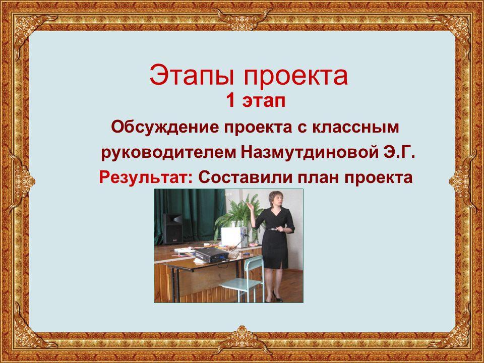 Этапы проекта 1 этап Обсуждение проекта с классным руководителем Назмутдиновой Э.Г.