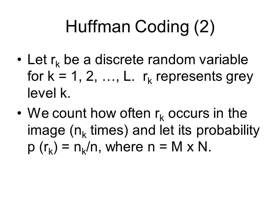 Huffman Coding (2) Let r k be a discrete random variable for k = 1, 2, …, L.