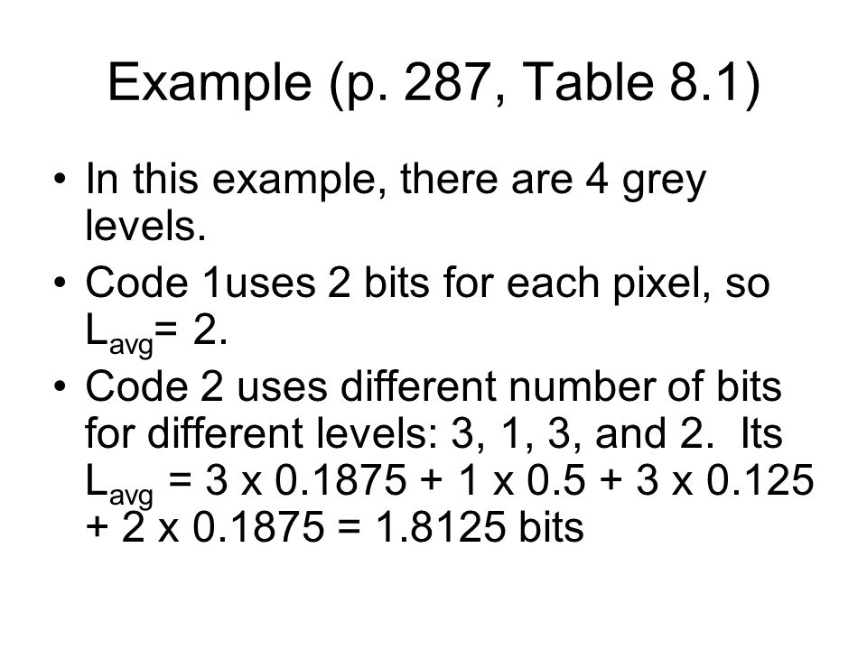 Example (p. 287, Table 8.1) In this example, there are 4 grey levels.