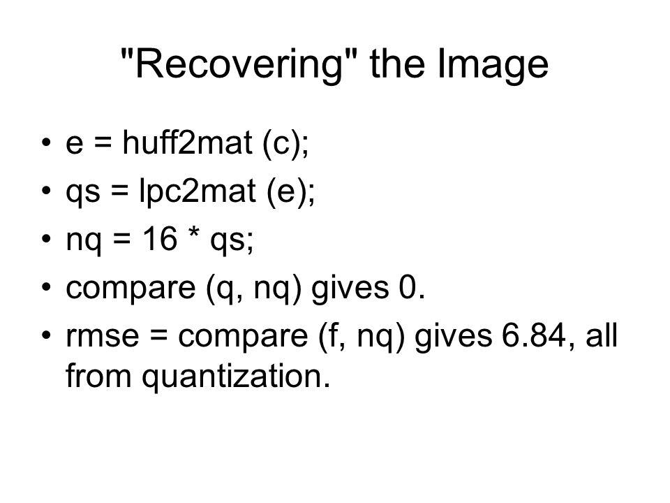 Recovering the Image e = huff2mat (c); qs = lpc2mat (e); nq = 16 * qs; compare (q, nq) gives 0.