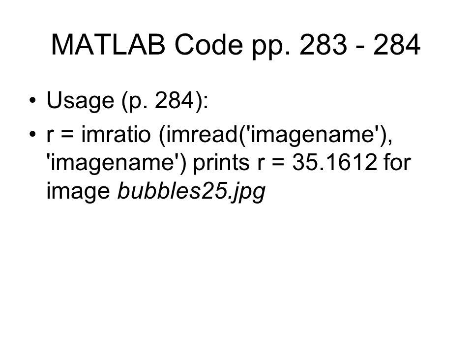 MATLAB Code pp. 283 - 284 Usage (p.