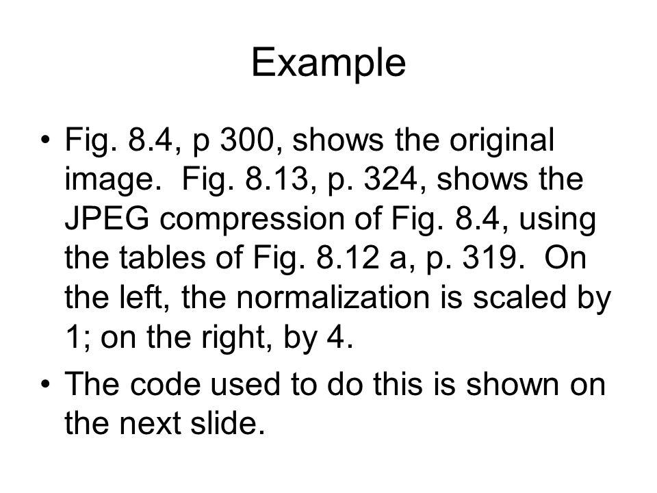 Example Fig. 8.4, p 300, shows the original image.