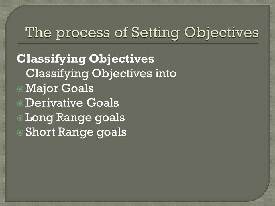 Classifying Objectives Classifying Objectives into  Major Goals  Derivative Goals  Long Range goals  Short Range goals