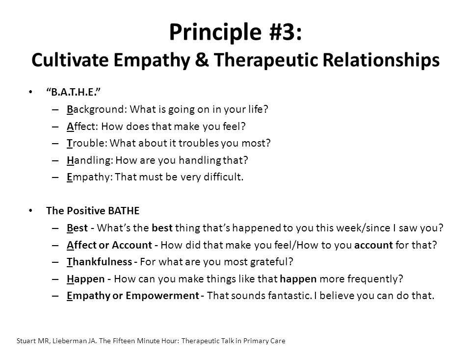 empathy and therapeutic relationship essay Counter-transference element of the therapeutic relationship onto or into the therapeutic partnership' this essay will examine the clarity and empathy.