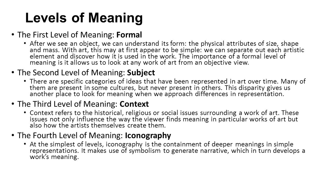 level of meaning