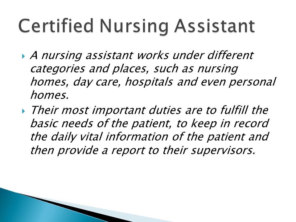 Cnacareersmart 1 Certified Nursing Assistant 2 Formal Duties