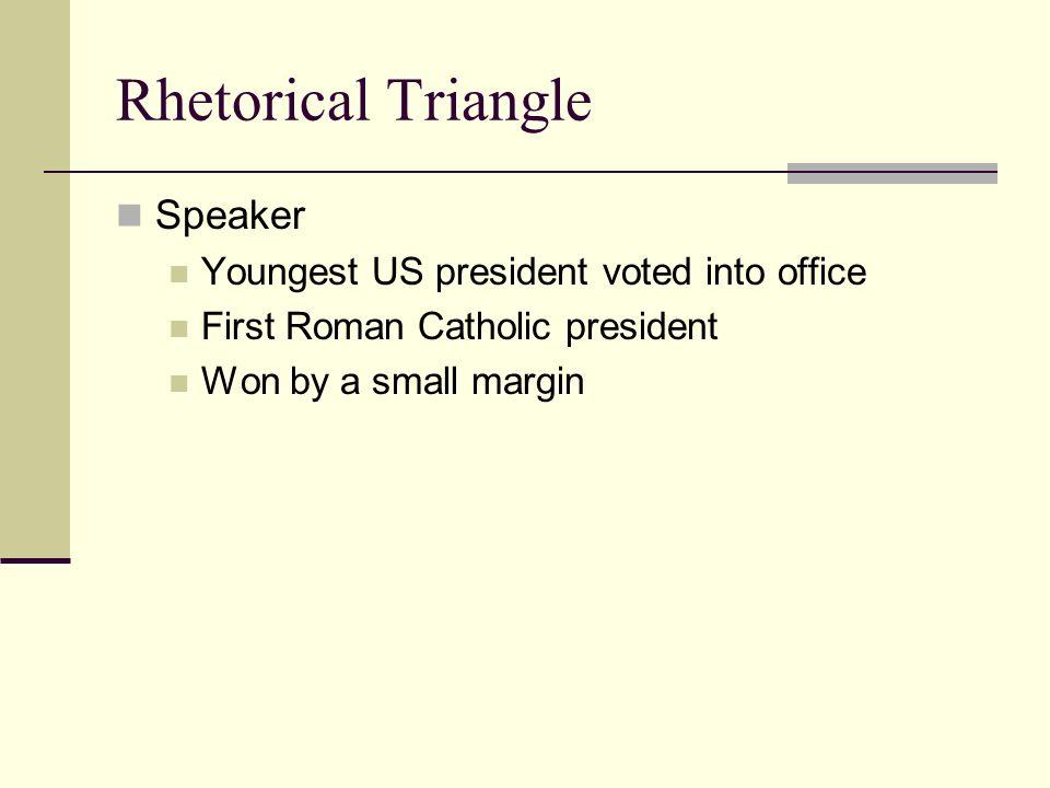 john f kennedy inaugural address rhetorical triangle speaker kennedy inaugural address 2 rhetorical triangle speaker youngest us president voted into office first r catholic president won by a small margin
