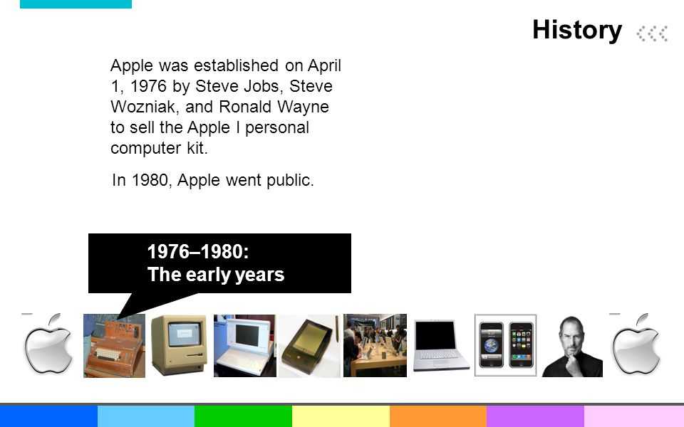 an introduction to the history of the apple company Although a stark contrast to today's apple products and the apple store apple as a company was apple apple history history of apple.