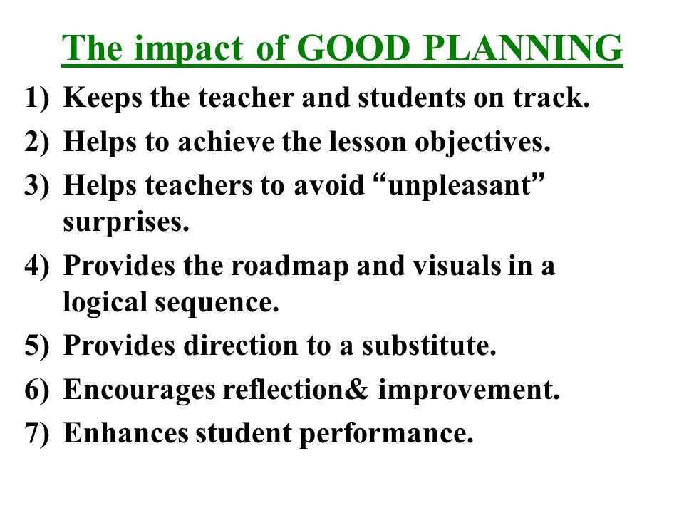 Effective Lesson Planning Importance Of Lesson Planning A Lesson