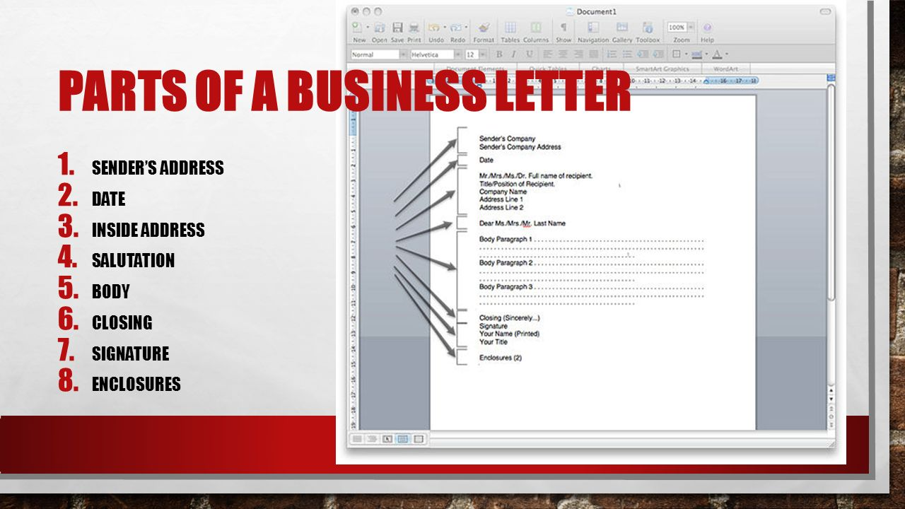 business letter format owl PARTS OF A