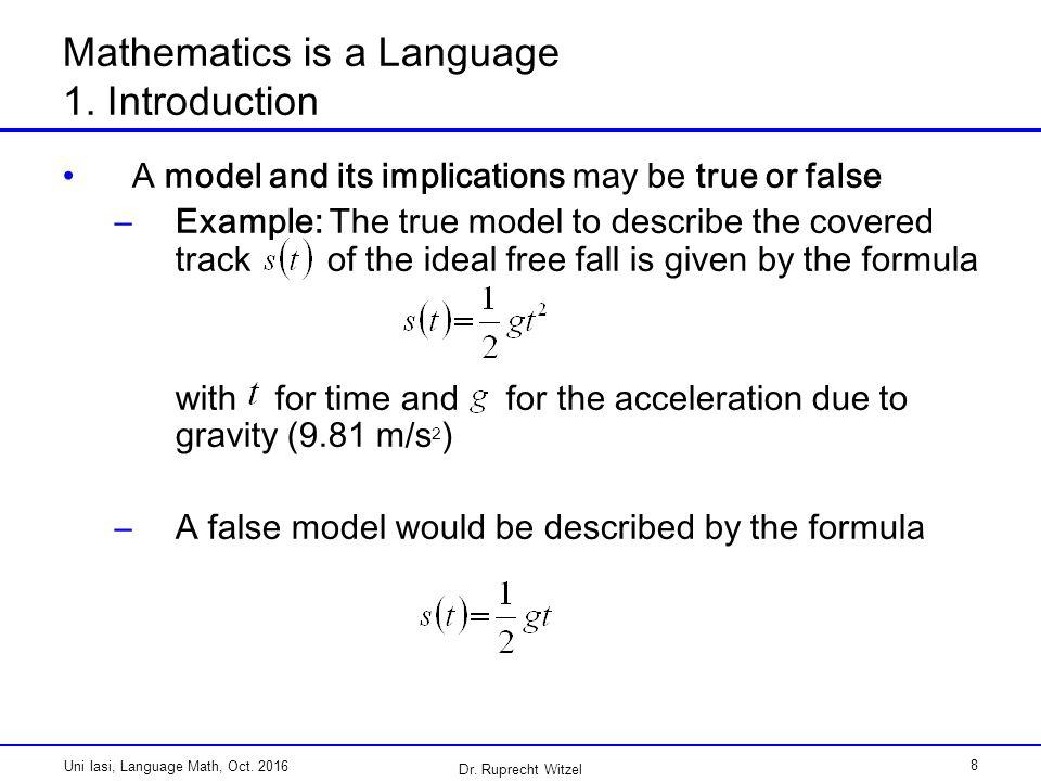 Mathematics is a Language Examples University Iasi October 2016 Dr ...