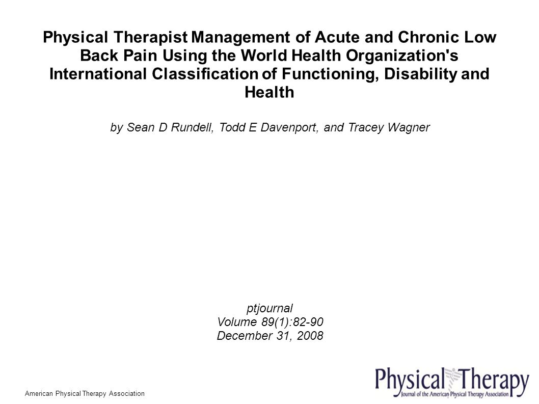 Acute low back pain and physical therapy - 1 Physical Therapist Management Of Acute And Chronic Low Back Pain