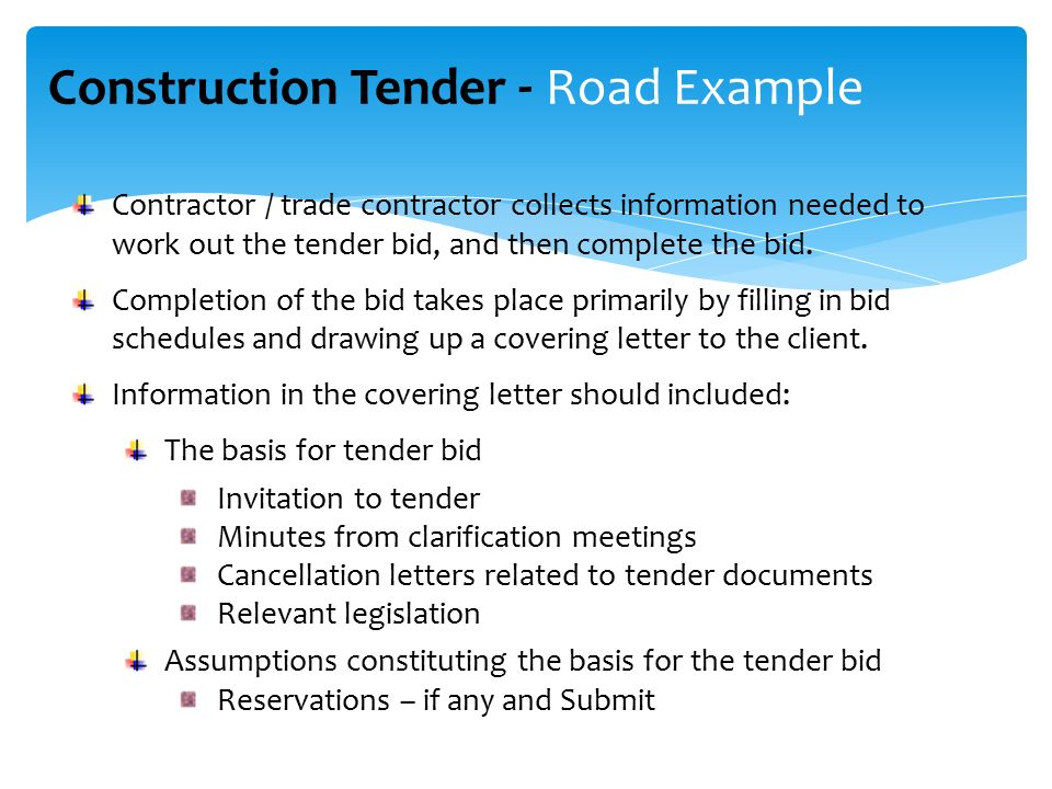 Construction Tender Process Tender Steps Between Client