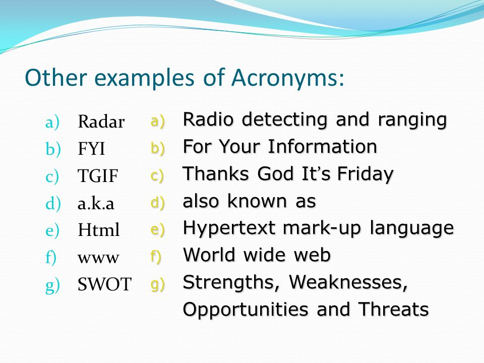 examples of acronyms