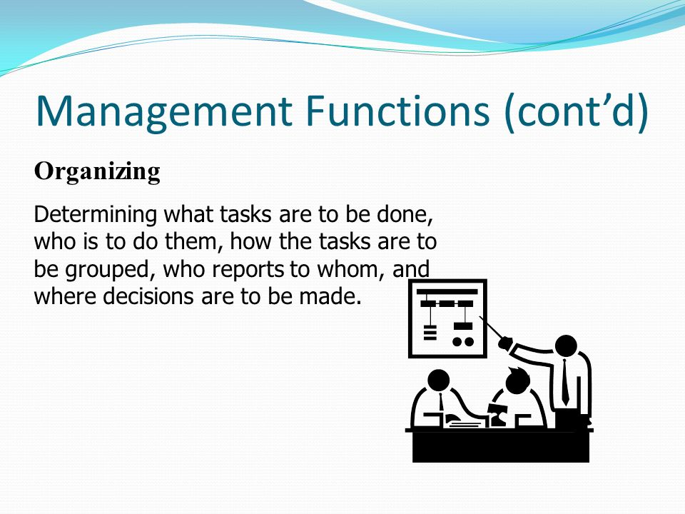Management Functions (cont'd) Organizing Determining what tasks are to be done, who is to do them, how the tasks are to be grouped, who reports to who