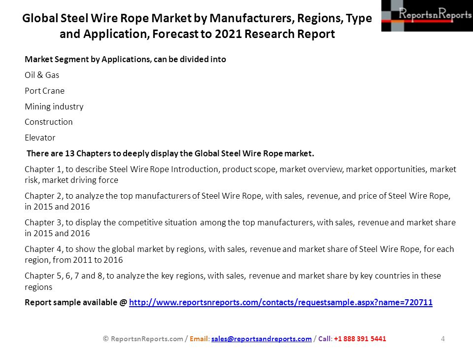 Global Steel Wire Rope Market by Manufacturers, Regions, Type and ...