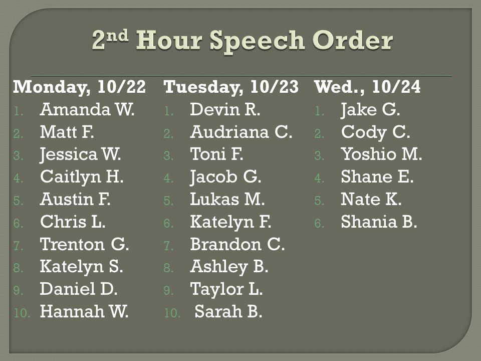 Monday, 10/22 1. Amanda W. 2. Matt F. 3. Jessica W.