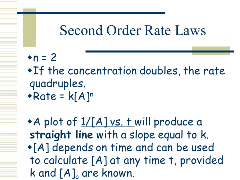 Second Order Rate Laws n = 2 If the concentration doubles, the rate quadruples. Rate = k[A] n A plot of 1/[A] vs. t will produce a straight line with