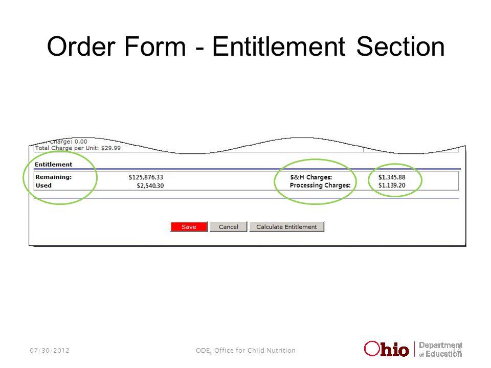 Order Form - Entitlement Section 07/30/2012ODE, Office for Child Nutrition 14