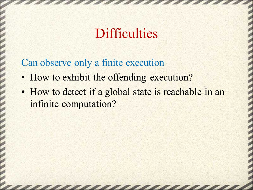 Difficulties Can observe only a finite execution How to exhibit the offending execution.
