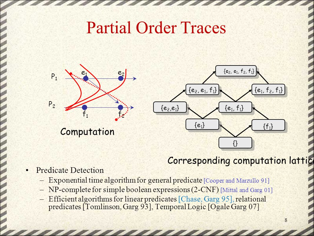 Partial Order Traces Predicate Detection –Exponential time algorithm for general predicate [Cooper and Marzullo 91] –NP-complete for simple boolean expressions (2-CNF) [Mittal and Garg 01] –Efficient algorithms for linear predicates [Chase, Garg 95], relational predicates [Tomlinson, Garg 93], Temporal Logic [Ogale Garg 07] 8 {} {e 1 } {f 1 } {e 1, f 1 } {e 2, e 1, f 1 } {e 2, e 1, f 2, f 1 } {e 1, f 2, f 1 } e1e1 e2e2 f1f1 f2f2 P1P1 P2P2 {e2,e1}{e2,e1} Computation Corresponding computation lattice