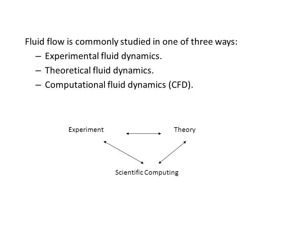 Fluid flow is commonly studied in one of three ways: – Experimental fluid dynamics. – Theoretical fluid dynamics. – Computational fluid dynamics (CFD)